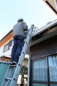 梯子で屋根を調査